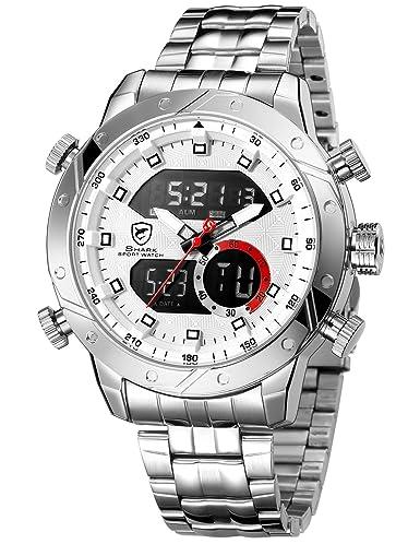 2a6293914d87 SHARK hombre deportivos Cuarzo relojes de pulseras Acero inoxidable LCD  Cronógrafo Despertador SH589  Amazon.es  Relojes