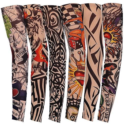 JUNGEN 6 Pcs Tatuaje Mangas Falsas Novedad Rock Temporal Tatuaje ...