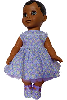 bd5dc0fc0236 Lilac flower dress ,shoes and blue nappy clothes set to fit Luvabella doll  from frilly