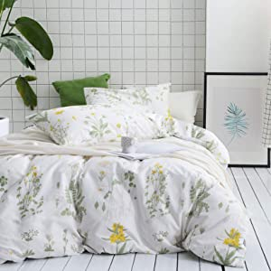 Wake In Cloud - Botanical Comforter Set, 100% Cotton Fabric with Soft Microfiber Fill Bedding, Yellow Flowers and Green Leaves Floral Garden Pattern Printed on White (3pcs, California King Size)