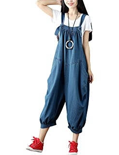 ce5b9f66fff88 Yeokou Women s Loose Baggy Denim Wide Leg Drop Crotch Jumpsuit Rompers  Overalls