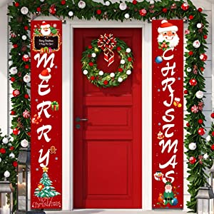 YUFOL Outdoor Christmas Decorations | Merry Christmas Banner Sign,Hanging Christmas Door Decorations for Home Outdoor Front Door Wall Party Dark Red Christmas Decor- Flags