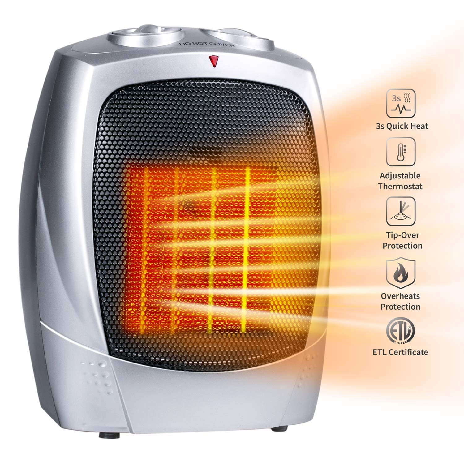Minetom Ceramic Space Heater ETL Listed with Adjustable Thermostat, Portable Personal Heater with Over-Heat Tip-Over Protection for Home and Office, 750W 1500W