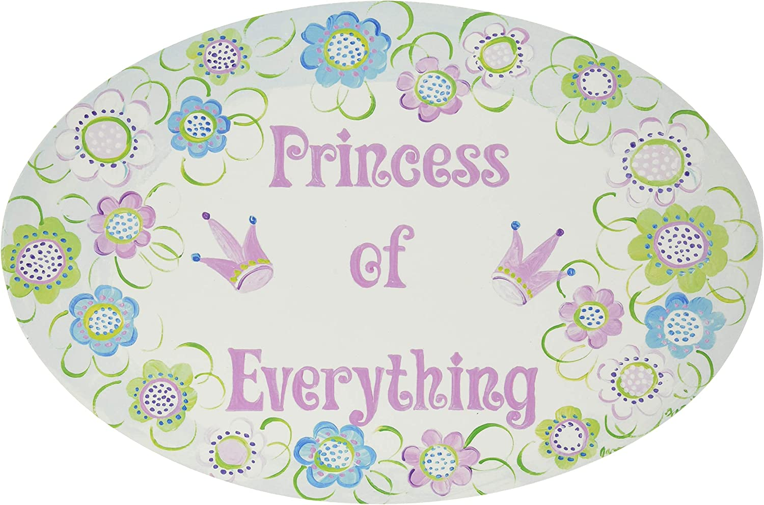 The Kids Room by Stupell Princess of Everything with Flowers Oval Wall Plaque
