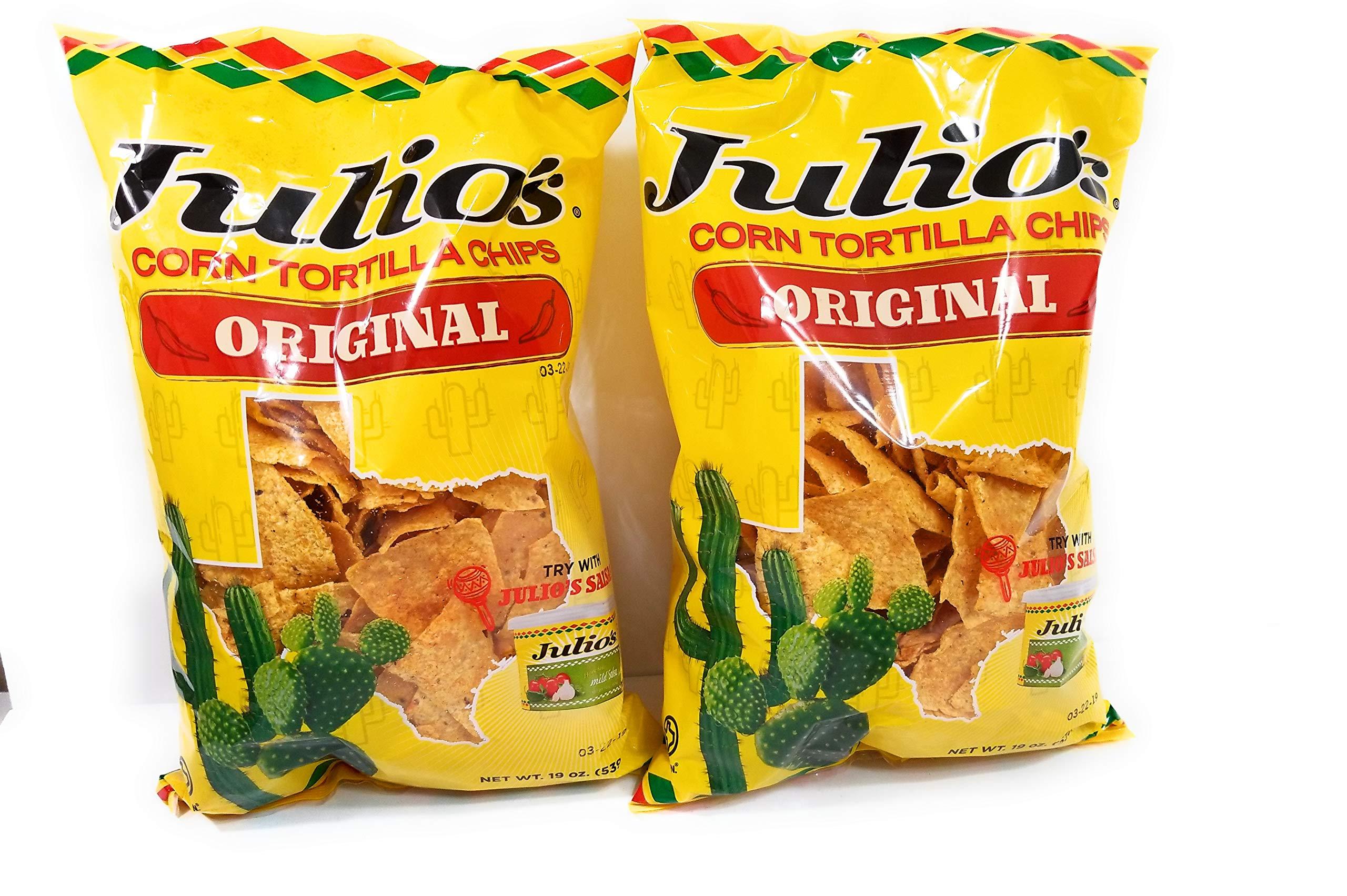Julio's Seasoned Corn Tortilla Chips - 19 Ounce (Pack of 2)