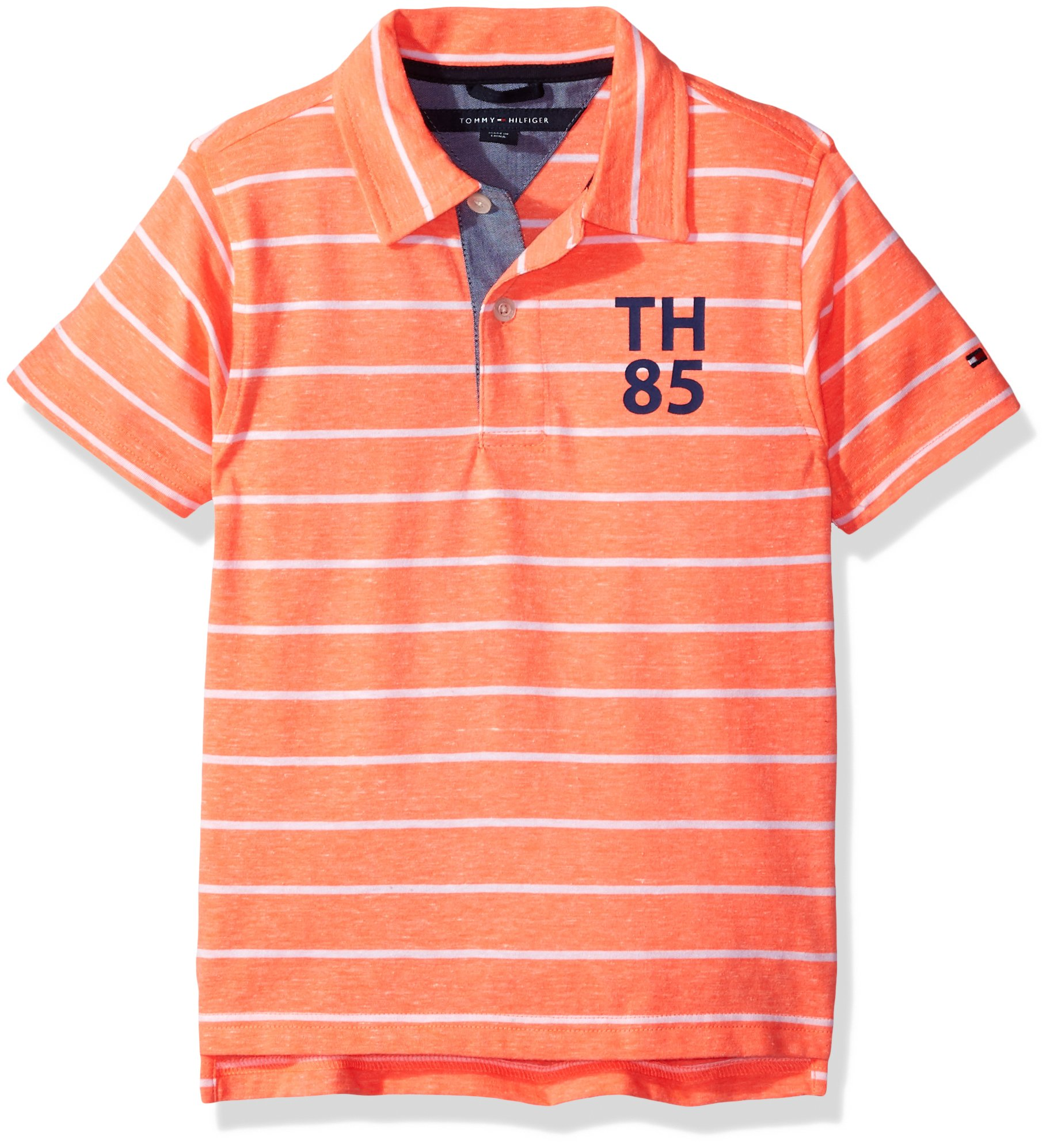 Tommy Hilfiger Boys' Little Short Sleeve Striped Polo Shirt, Fiery Coral, 4