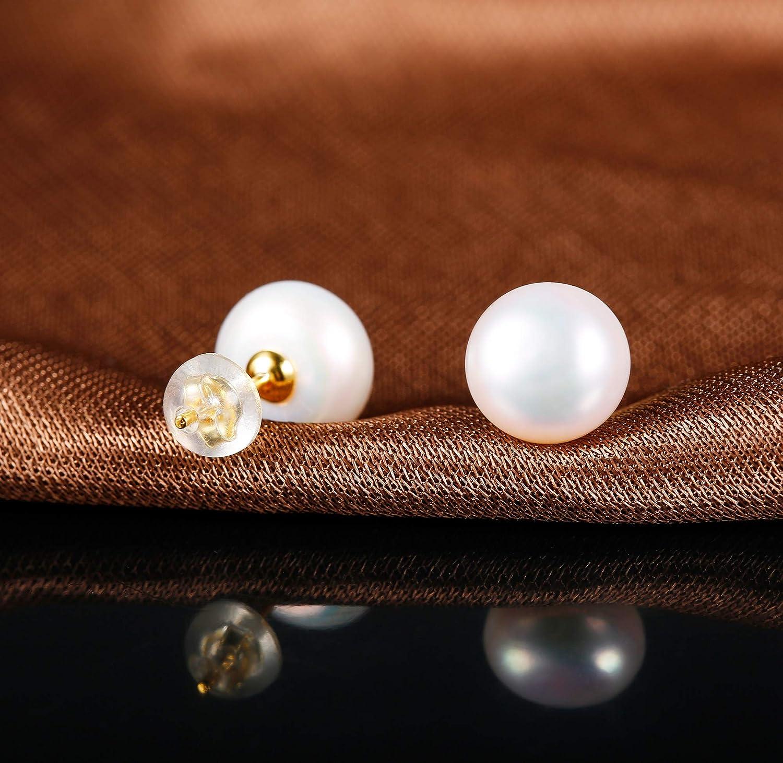 10MM Perles Rondes Boucles dOreilles Puces Hypoallerg/énique Sllaiss Boucles dOreilles en Perles dEau Douce Naturelles en Argent Sterling 925 pour Femmes 5MM