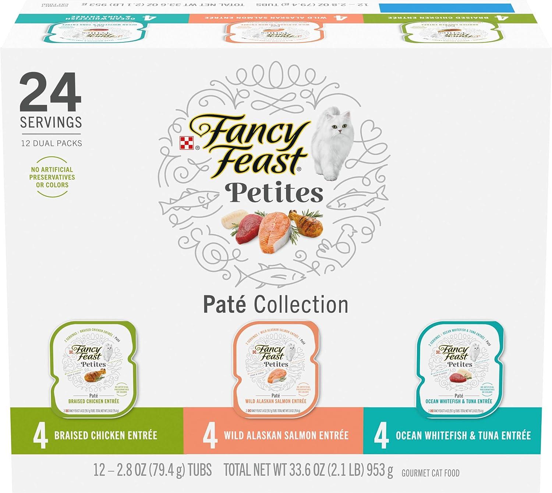Purina Fancy Feast Gourmet Wet Cat Food Variety Pack, Petites Pate Collection, Break-Apart tubs, 24 Servings - (12) 2.8 oz. Tubs