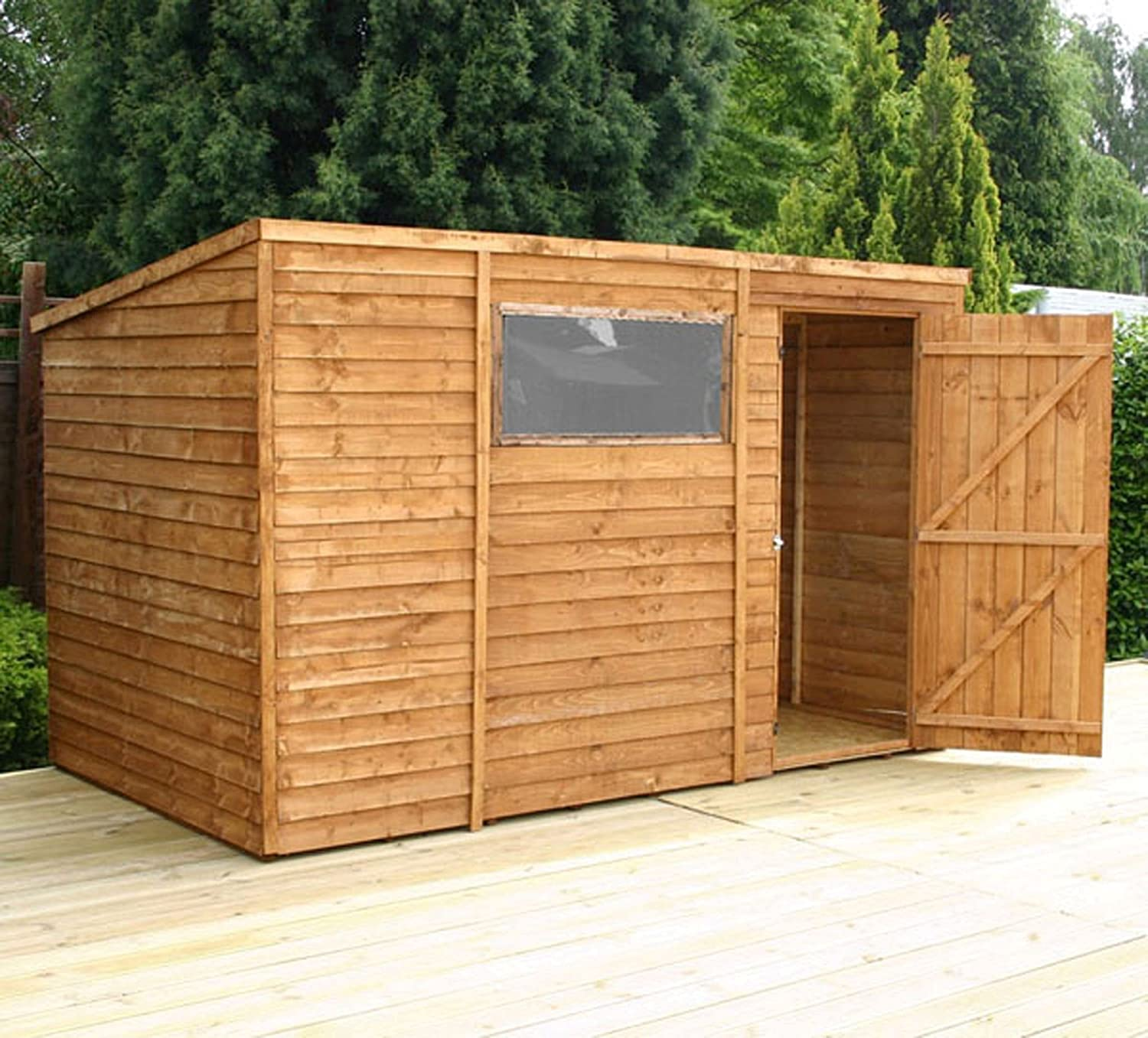 10 x 6 wooden overlap clad pent shed amazoncouk garden outdoors - Garden Sheds 10 X 6