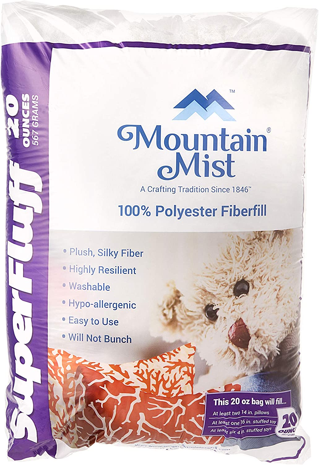 Mountain Mist SuperFluff Polyester Fiberfill Stuffing: 20 Ounces, Multicolor