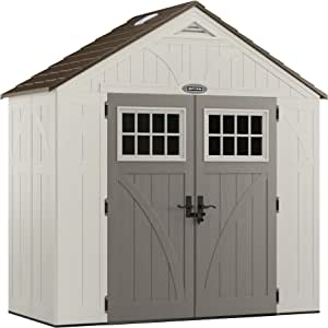 Craftsman 8' x 4' CBMS8401 Storage Shed with Windows - Natural Wood-Like Outdoor Storage for Power Equipment and Yard Tools - All-Weather Resin Material, Skylights and Shingle Style Roof