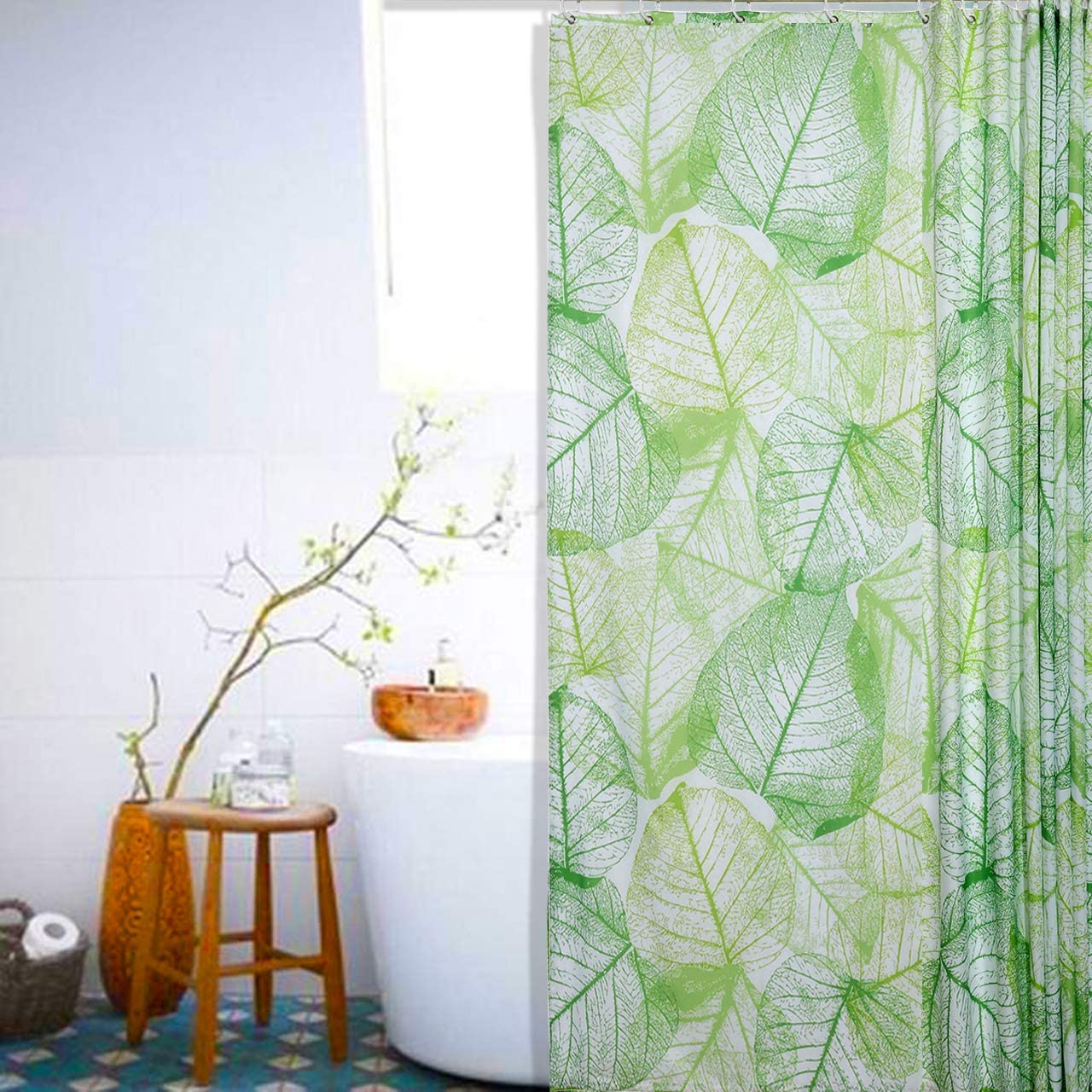 """CozyCabin Light Green Leaves Vein Waterproof Bathroom Shower Curtain, Nature Featured Tree Leaves Vein Decor 71"""" X 71"""" Digital Printing Polyester Fabric Curtain, Included Hooks"""