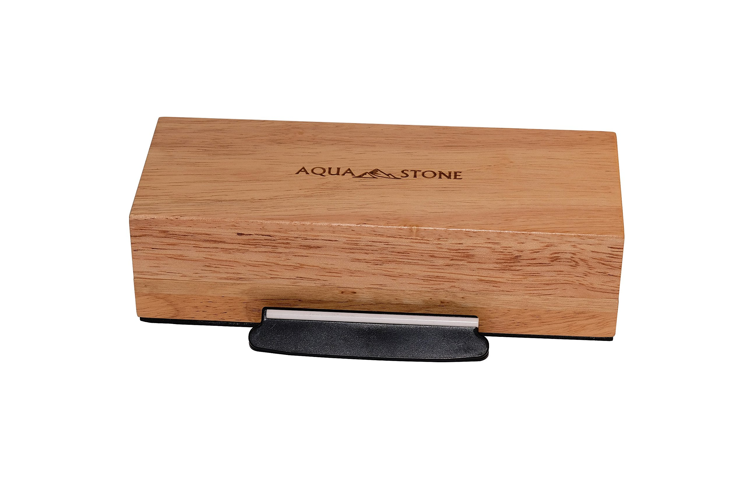 Professional Knife Sharpener 2 Side Sharpening Stone Kit For Chefs, Home Kitchen Knives.Whetstone Grit 1000/6000 Watersone,NonSlip Wood Base, FREE Angle Guide, Silicone Base with Stylish Wood GIFT Box by Aquastone (Image #4)