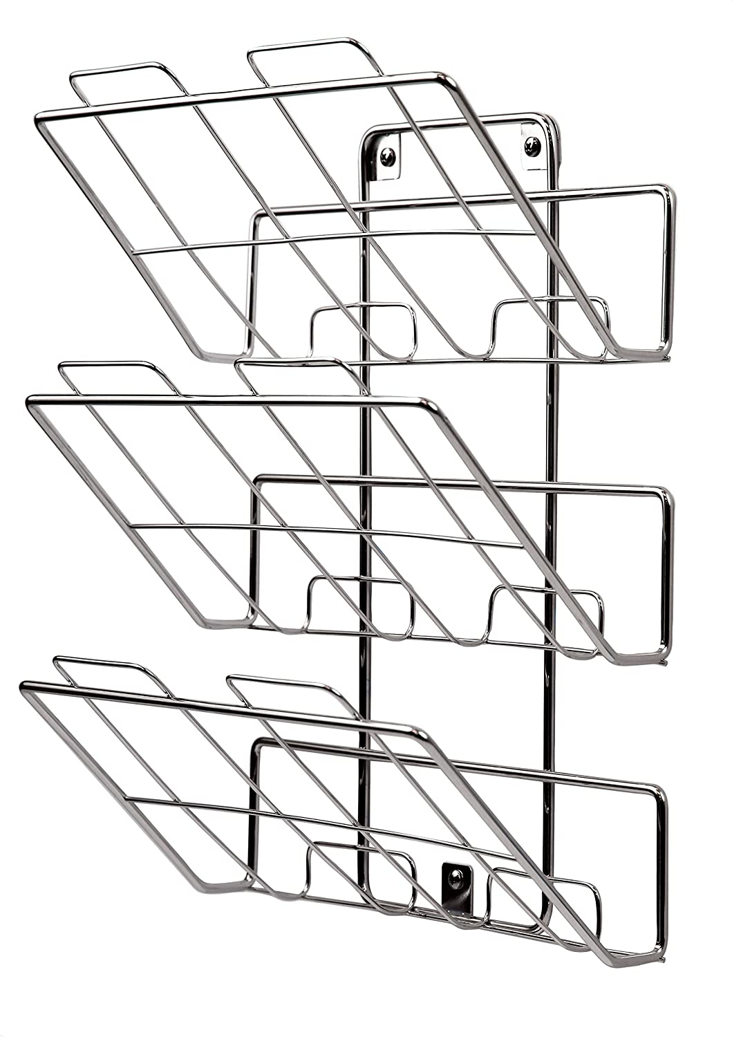 Spectrum Diversified 75870 Wall-Mount 3-Tier File Holder and Magazine Rack, Chrome