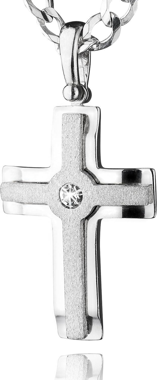 STERLL Cadena para hombre de plata 925, con colgante a forma de cruz, con caja de joyas, ideal como regalo de hombre