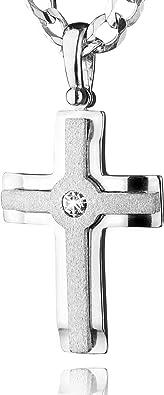 avecun pendentif en forme de croix STERLL Cha/îne pour hommes avec une boite /à bijou id/éale comme cadeau pour homme