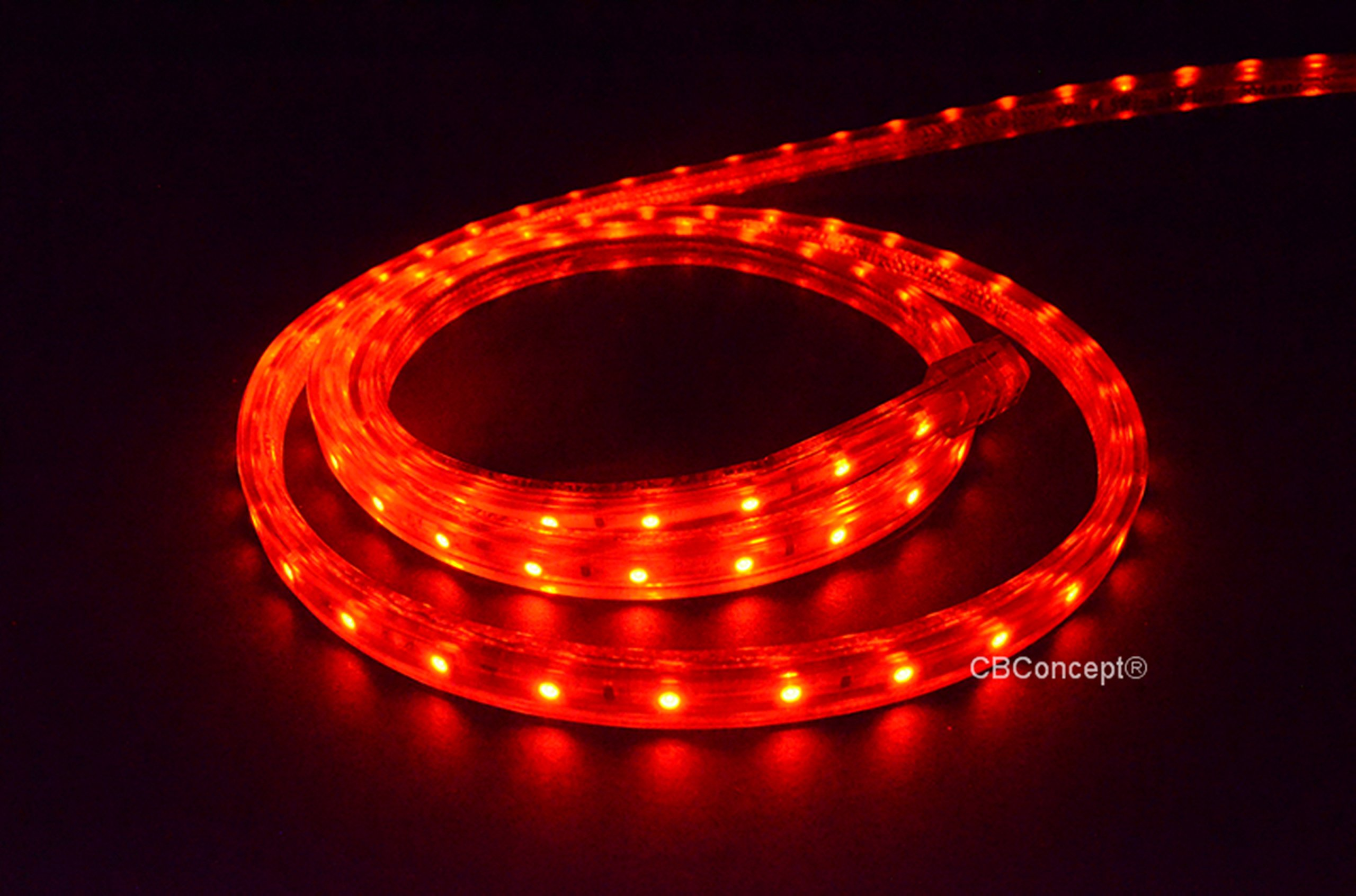 CBConcept UL Listed, 150 Feet, 16500 Lumen, RED, Dimmable, 110-120V AC Flexible Flat LED Strip Rope Light, 2760 Units 3528 SMD LEDs, Waterproof IP65, Accessories Included, Size: 0.45 Inch Width X 0.28 Inch Thickness- [Christmas Lighting, Indoor / Outdoor