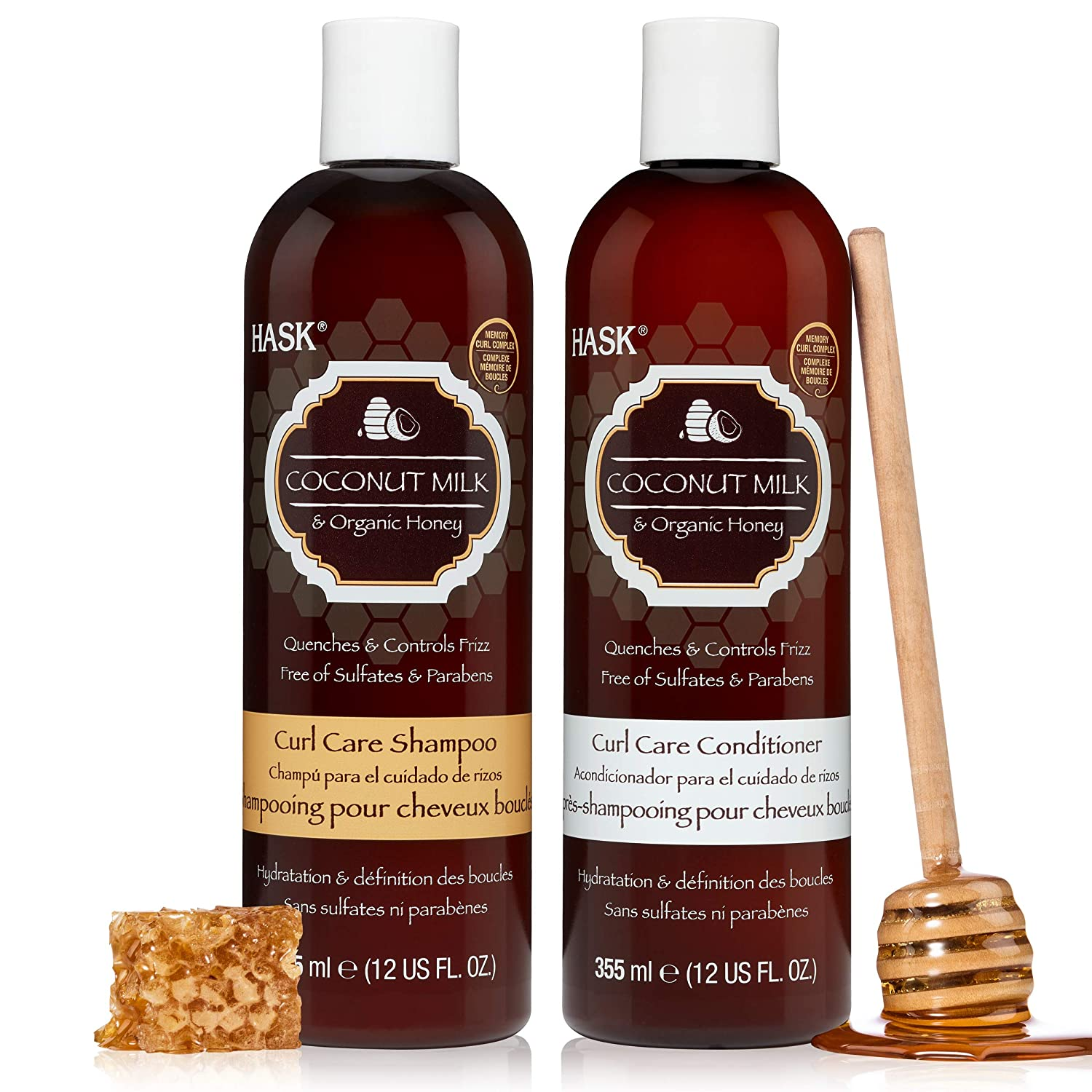 HASK COCONUT MILK + HONEY Curly Hair Shampoo and Conditioner Set Curl Care for all curly hair types, color safe, gluten-free, sulfate-free, paraben-free - 1 Shampoo and 1 Conditioner