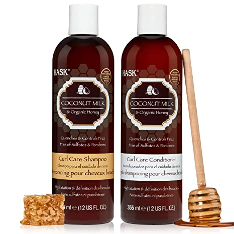HASK COCONUT MILK + HONEY Hydrating Shampoo + Conditioner Set for All Hair Types, Color Safe, Gluten-Free, Sulfate-Free, Paraben-Free, Cruelty-Free - 1 Shampoo and 1 Conditioner