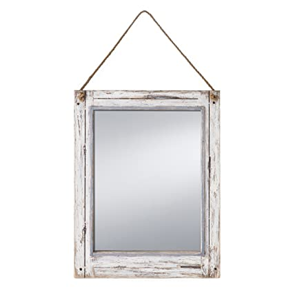 Amazon.com: Prinz Rustic River Mirror with Wood Border in Distressed ...