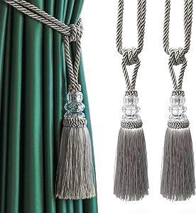 Fenghuangwu 2Pcs Tassel Curtain Tiebacks Handmade, Elegant Crystal Curtain Holdbacks for Home Office Decor-Silver