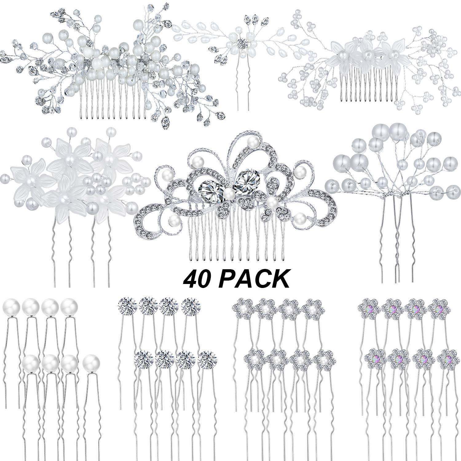 40 PCS Wedding Hair Combs Bridal Hair Side Combs U Shaped Hair Pins Crytal Pearl Hair Accessories for Bridesmaids, 10 Styles by WILLBOND