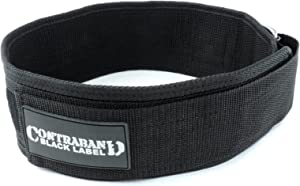 Contraband Black Label 4010 4inch Nylon Weight Lifting Belt w/Hook & Loop - Perfect Heavy Duty Back Support for Weightlifting Bodybuilding Powerlifting - Men & Women