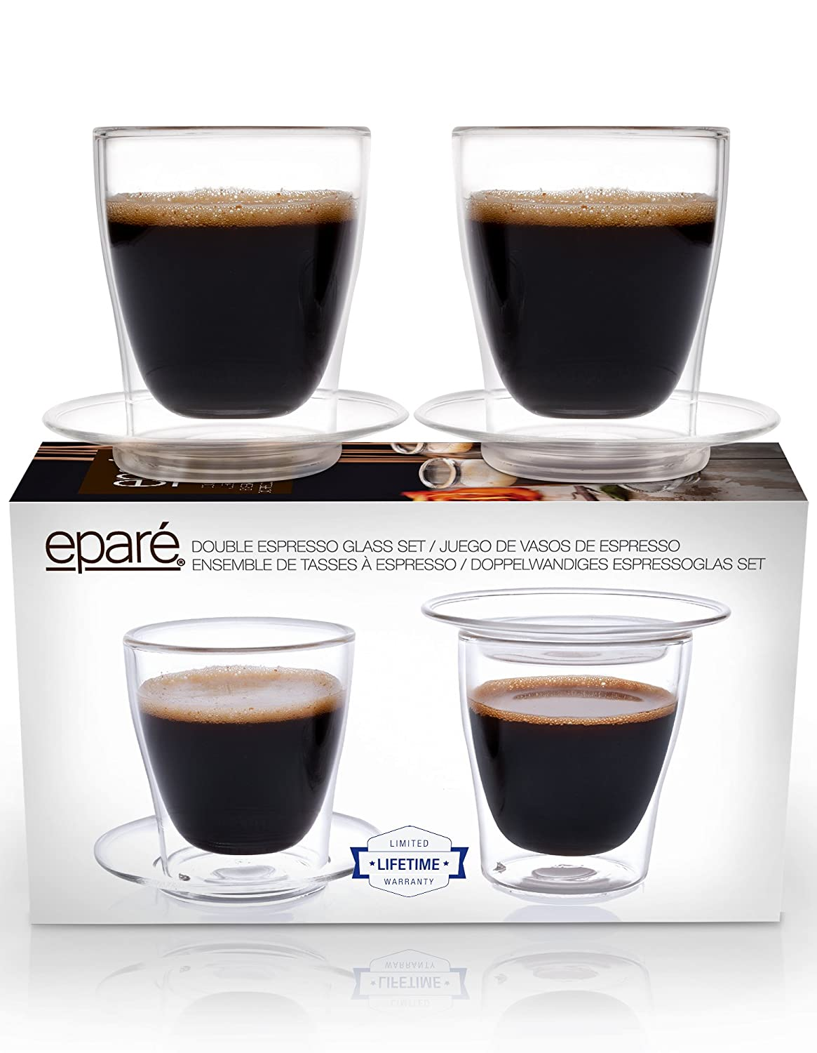 Eparé Espresso Cups, Insulated Glass Demitasse Lid & Saucer Set (4 oz, 120 ml) – Double Wall Thermal Tumbler Cup – Mug for Drinking Tea, Latte, Lungo, or Cappuccino – 2 Glasses or Cappuccino - 2 Glasses