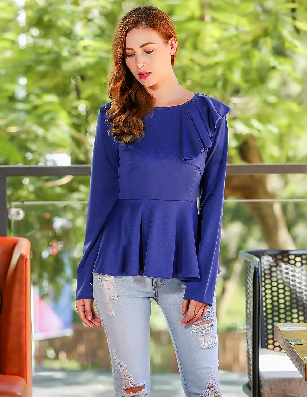2bf3604fe5658 Beyove Women s Ruffles Peplum Long Sleeve Dressy Blouse Tops at Amazon  Women s Clothing store