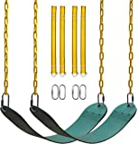 PACEARTH 2 Pack Swings Seats Holds 660lbs with 68.9 inch Anti-Rust Chains Plastic Coated 23.6 inch Tree Hanging Straps…