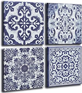 Kitchen Decor Canvas Wall Art Modern Navy Flower Pattern Prints Large Framed Wall Decor Abstract Pictures for Living Room Kitchen Bathroom Dining Room Restroom Office Decorations (14x14x4pcs)