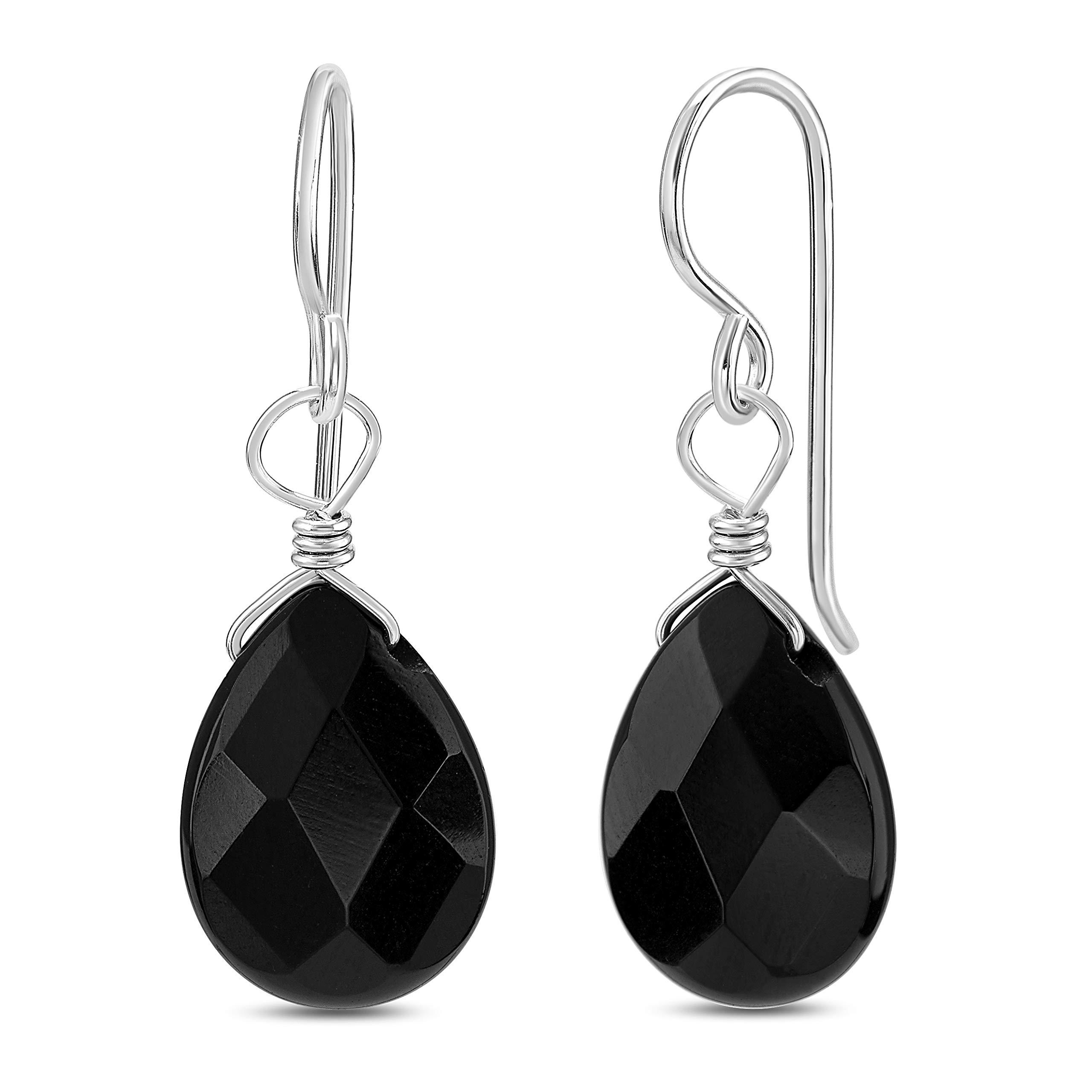 FRONAY Genuine Black Onyx Sterling Silver Drop Dangle Hook Earrings - Made in USA (onyx)