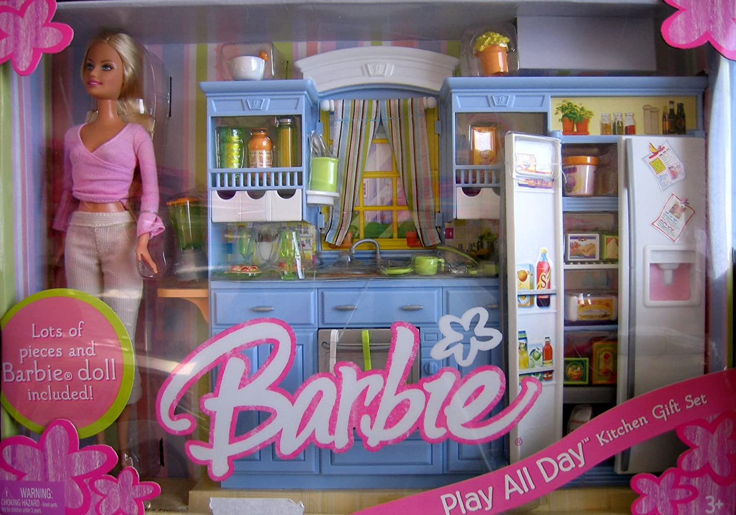 Amazon Com Barbie Play All Day Kitchen Gift Set W Barbie Doll 2005 Toys Games