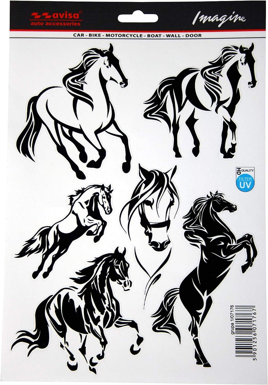 Avisa 1/07176 - Adhesivo 5 en 1 para Coche (19 x 28 cm), diseño de Caballo Mustang, Color Negro