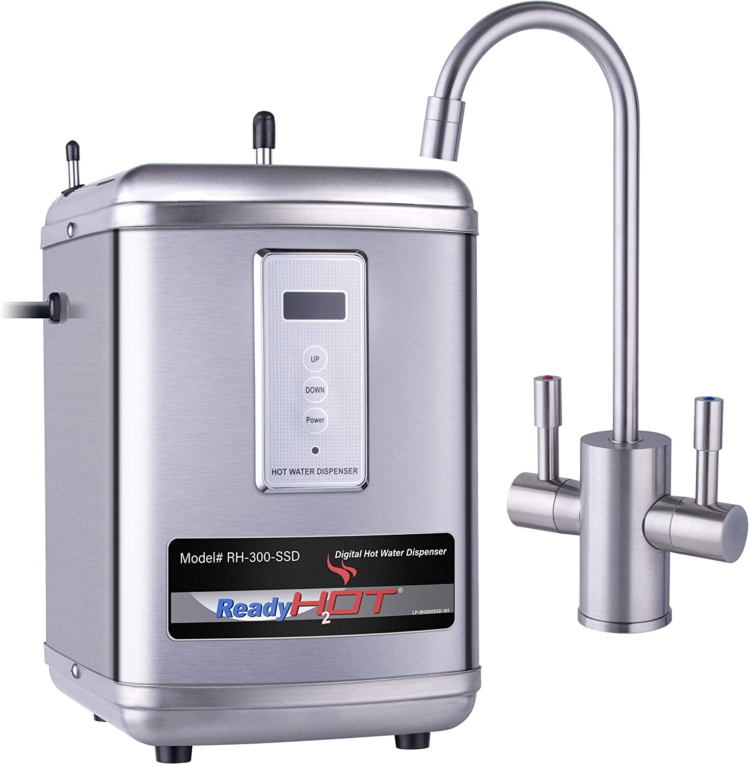 Ready Hot Water Dispenser, Digital Display Hot Water Dispenser, Includes Brushed Nickel Hot and Cold Water Faucet