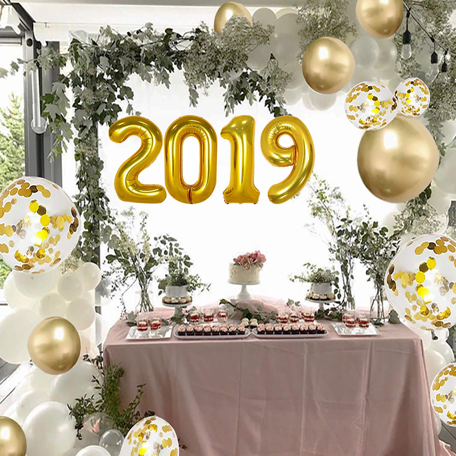 2019 Balloons/Gold Confetti Balloon Set/Graduation Balloons - 40 Inch Large 2019 Balloons with Gold,Gold Confetti Balloons(12 Inch), for More Parties
