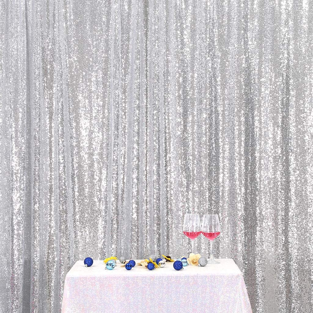Eternal Beauty Silver Sequin Wedding Backdrop Photography Background Party Curtain, 4Ft X 7Ft