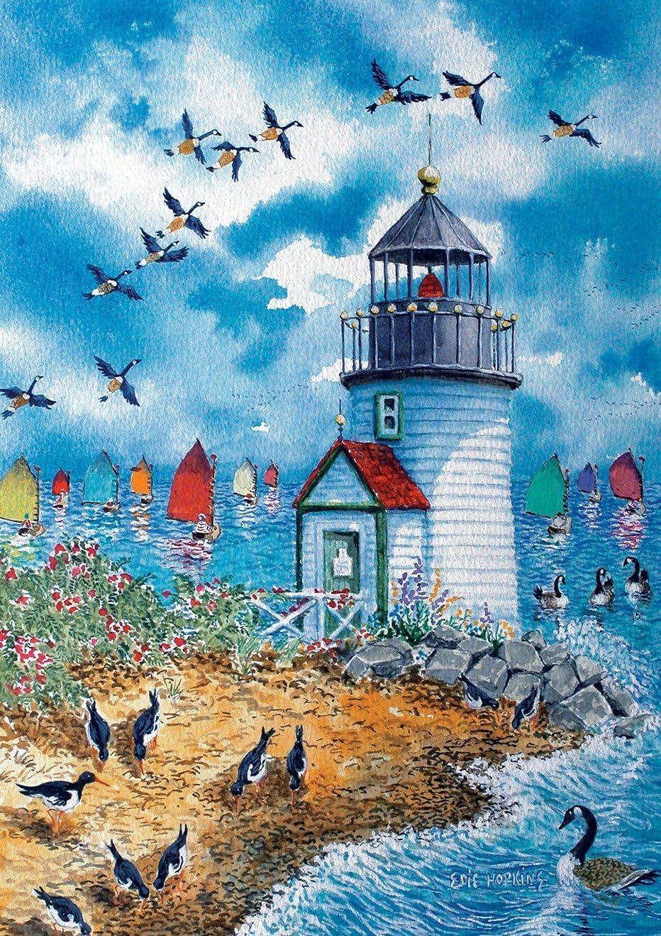 Toland Home Garden Lighthouse Point 12.5 x 18 Inch Decorative Summer Coastal Beach Birds Sailboats Garden Flag