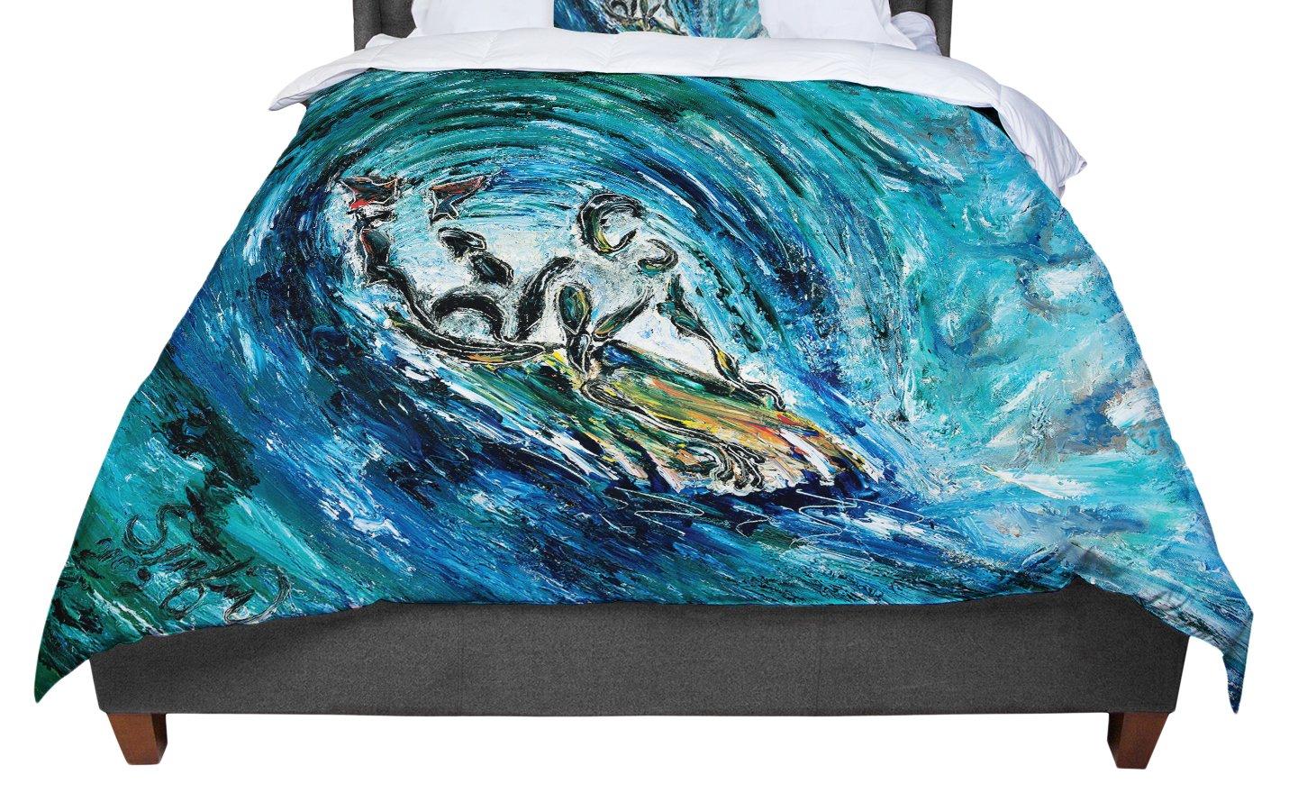 KESS InHouse Josh Serafin 'Sponge' Blue Teal Twin Comforter, 68' X 88'