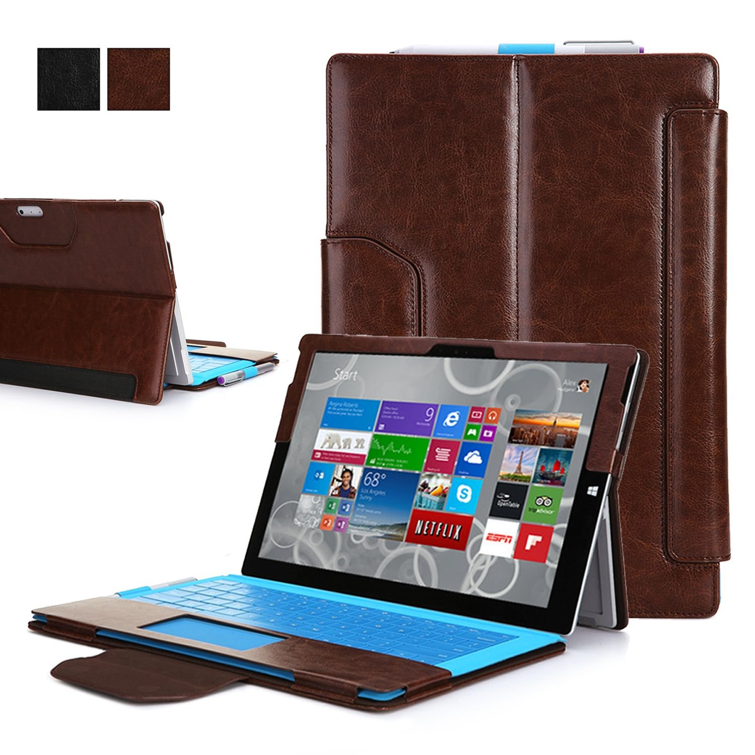 exact suite pu leather portfolio magnetic stand case for microsoft surface pro 3