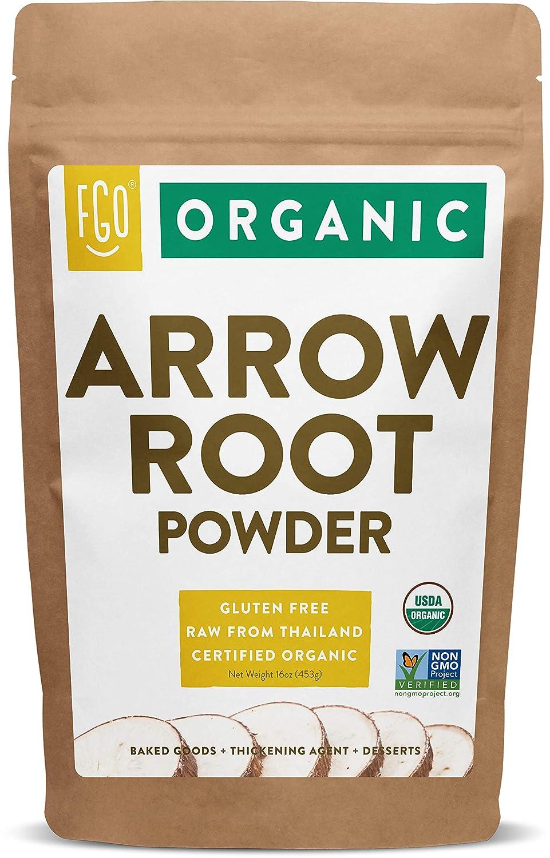 Organic Arrowroot Powder (Flour)   16oz Resealable Kraft Bag (1lb)   100% Raw From Thailand   by FGO
