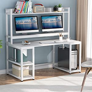 Tribesigns 55 Inches Computer Desk with Hutch and Monitor Stand Riser, Rustic Industrial Desk Computer Table Studying Writing Desk Workstation with Storage Shelves Bookshelf for Home Office (White)