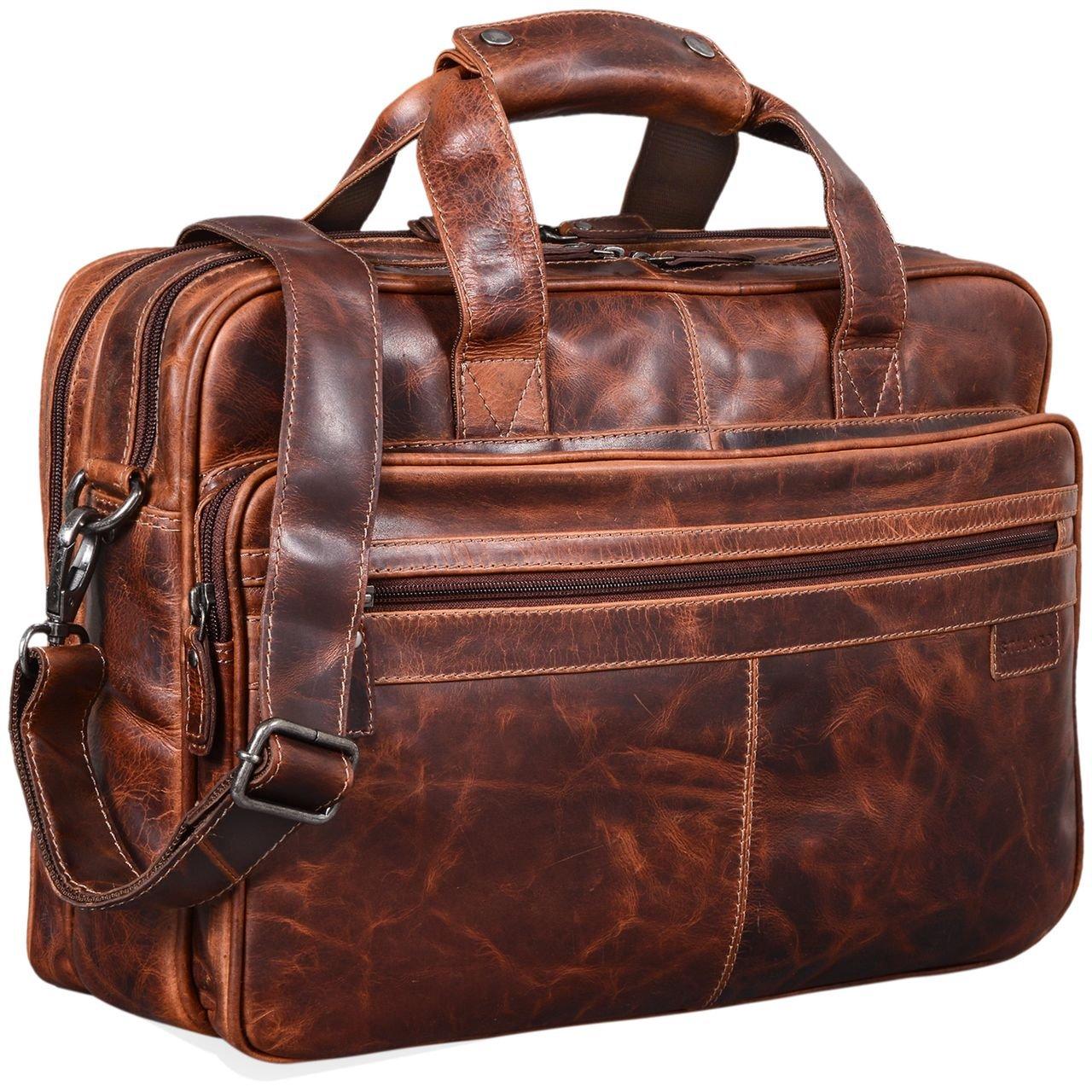 STILORD 'Atlantis' Leder Aktentasche groß Vintage Lehrertasche Arbeitstasche große Ledertasche Businesstasche zum Umhängen Trolley aufsteckbar, Farbe:anthrazit