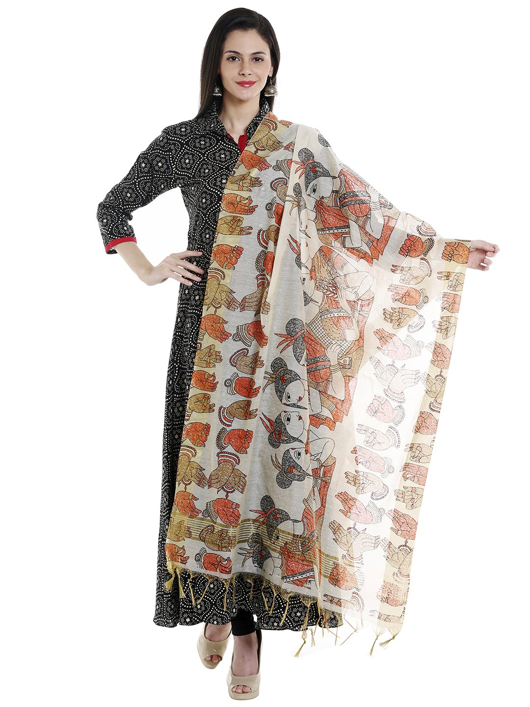 Dupatta Bazaar Woman's Cotton Silk Printed Orange Dupatta by Dupatta Bazaar