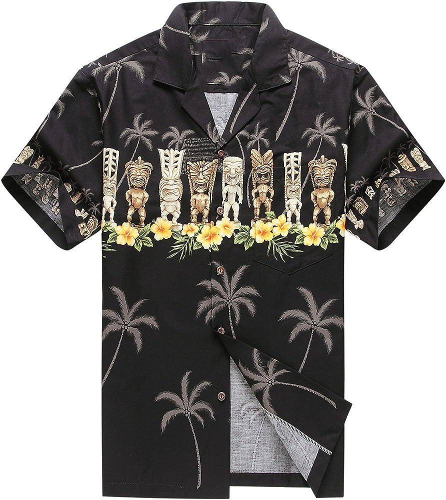 Hecho en Hawaii Camisa Hawaiana de los Hombres Camisa Hawaiana S Tiki Cruz Negro: Amazon.es: Ropa y accesorios