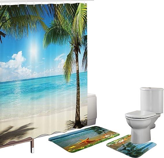 Sea Island Palm Tree Shower Curtain Bath Mat Toilet Cover Rug Bathroom Decor