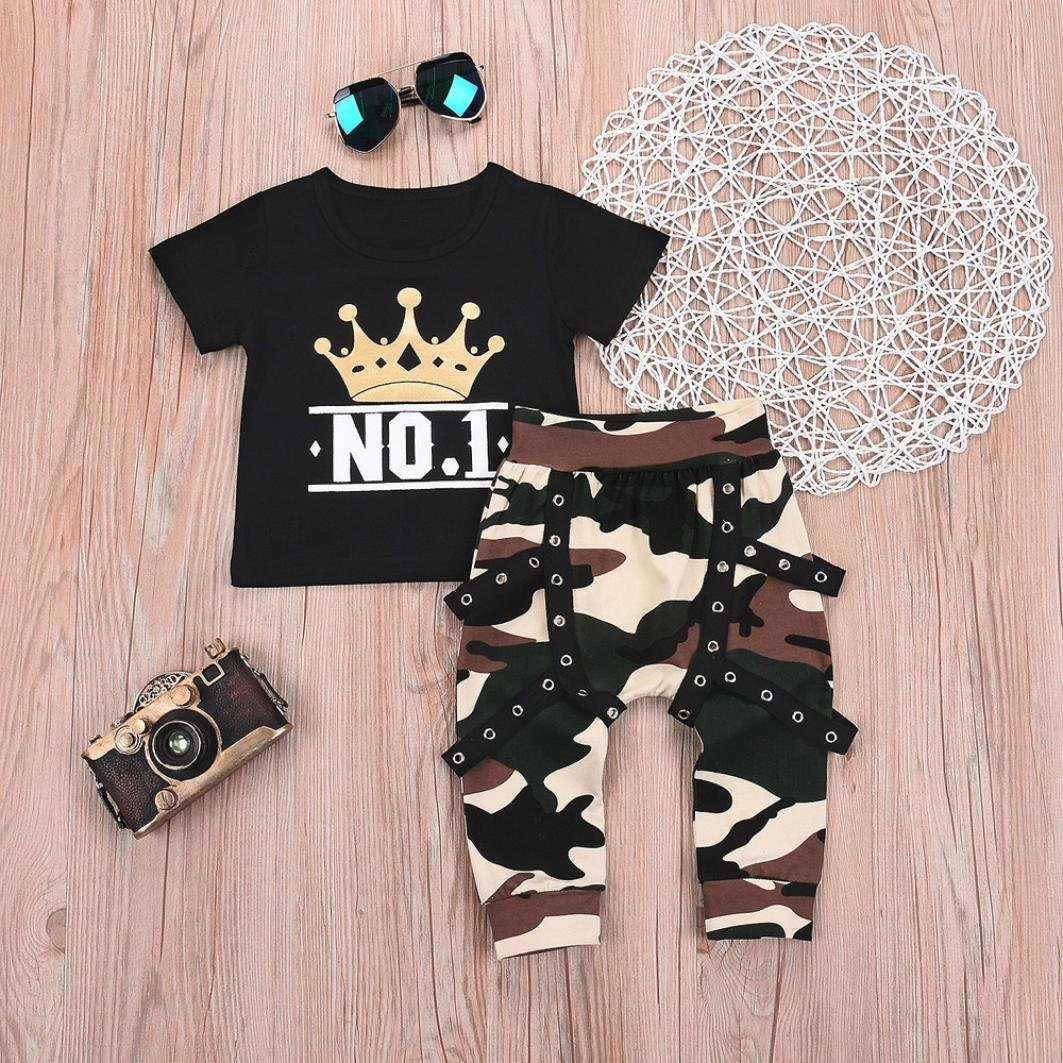 Little Baby Boy Cool Outfit Print Number 1 Crown Long Sleeves Cotton Shirt Top+Camouflage Shorts Outfits 2PCS Set