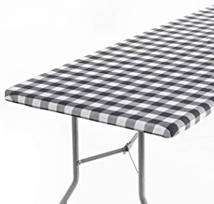 Signature Home Fitted Tablecloth Rectangle Black White Table Cover - 72 x 32 in Table Cloth - Fitted Table Covers for 6 Foot Tables. Washable Picnic Table Cover, Indoor Outdoor Checkered Tablecloth