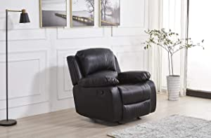 Betsy Furniture Bonded Leather Reclining Sofa Loveseat Glider Chair in Multiple Colors, 8018 (Black, Glider Chair)