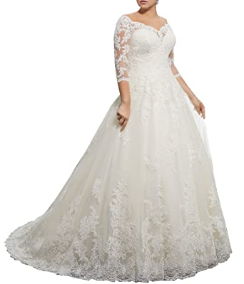 Women s Plus Size Bridal Ball Gowns Lace Wedding Dresses with 3 4 Sleeves  Ivory 2 ca94ff5a0